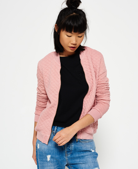 washed pink Superdry Veste bombardier en micro jersey Beach