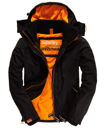 mens arctic windcheater in black fluro orange superdry. Black Bedroom Furniture Sets. Home Design Ideas