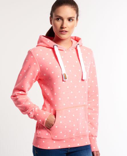 womens all over print hoodie in neon pink marl superdry. Black Bedroom Furniture Sets. Home Design Ideas