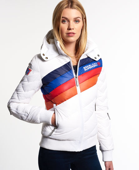 Womens - Retro Ride Hooded Bomber Jacket in White | Superdry