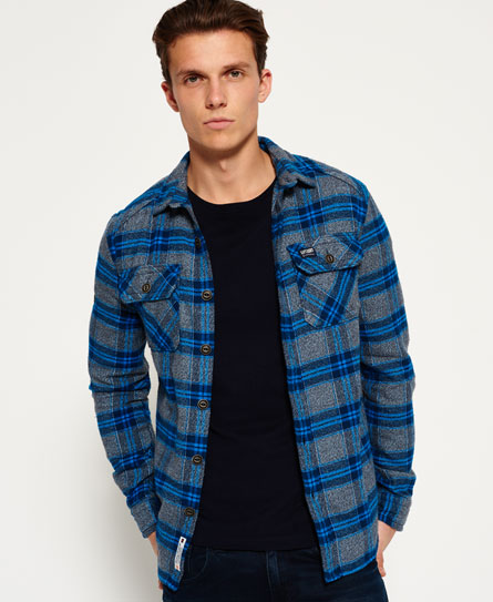 fulton blue check Superdry Milled Flannel Hemd