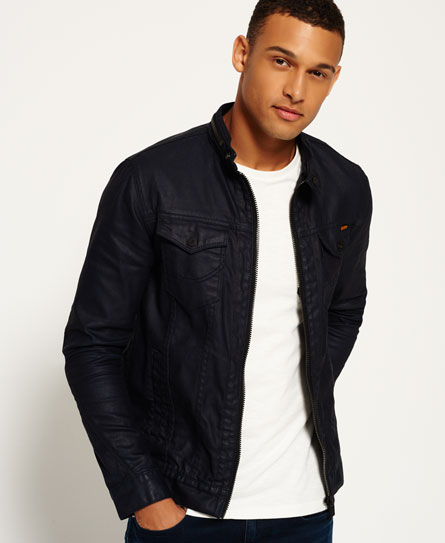 blue ink resinated Superdry Denim Biker Jacket