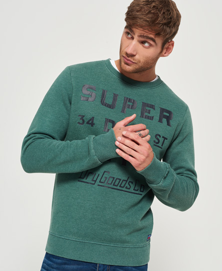 oxford green Superdry The Industry Over Dyed Crew Jumper