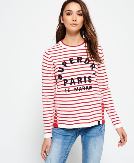 deep red/cream Superdry Le Marais Stripe Knit Jumper