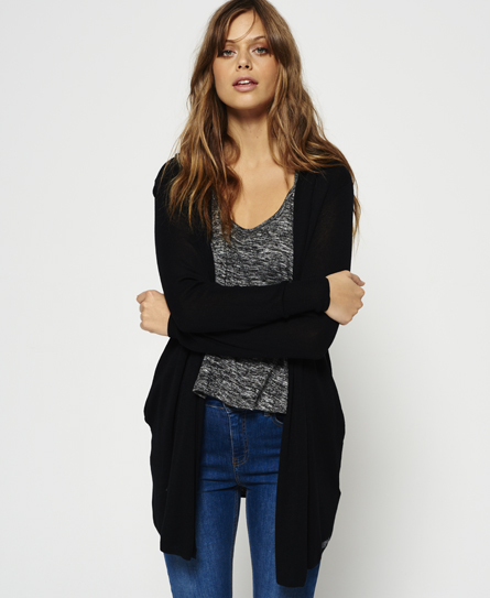 black Superdry Rayon Hooded Fine Knit Cardigan