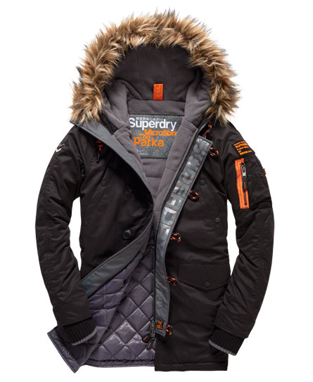 Mens - Microfibre Parka Coat in Black | Superdry