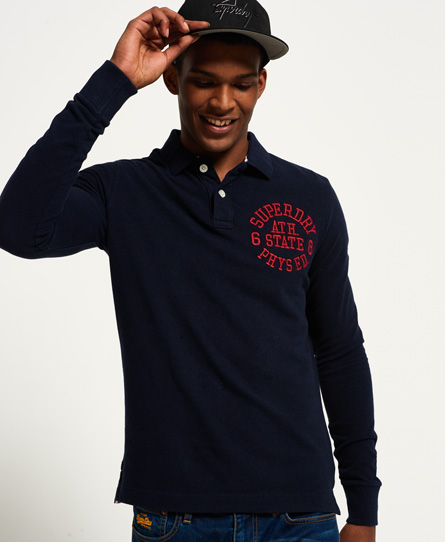 twilight navy marl Superdry Classic Long Sleeve Superstate Polo Shirt