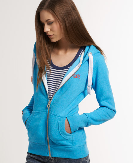 Superdry Orange Label Zip Hoodie Blue