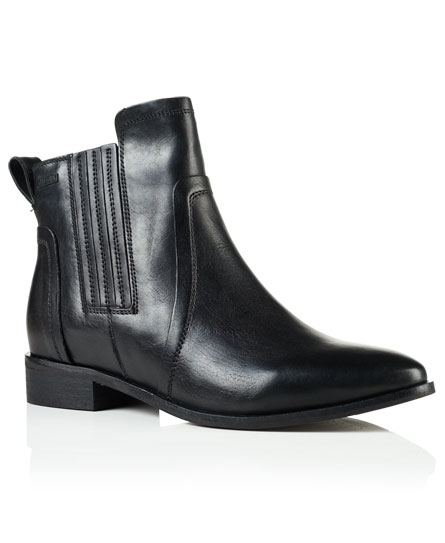 black Superdry Margot Leather Chelsea Boots