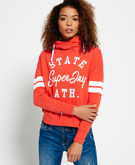 optical white Superdry Varsity State Lightweight Hoodie