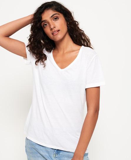 Superdry T-Shirt mit V-Ausschnitt in Ausbrenneroptik | Bekleidung > Shirts > T-Shirts | Weiß | Material: polyester 65%|baumwolle 35%| | Superdry