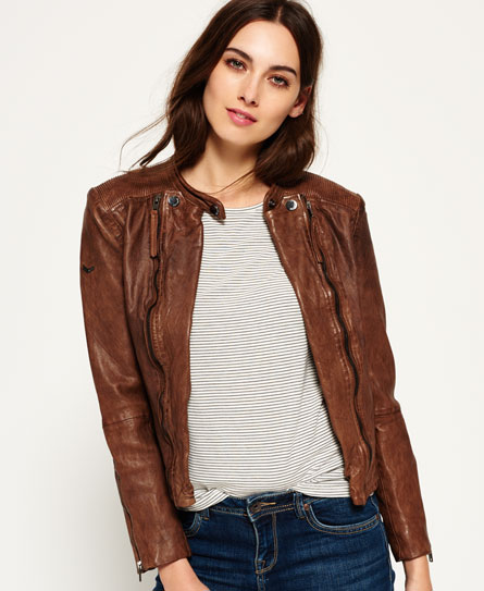 Womens - Silka Leather Biker Jacket in Mink | Superdry