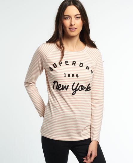 Superdry Superdry Stribet T-shirt med raglanærmer og applikation