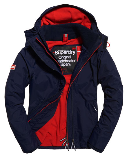 nautical navy/rebel red Superdry Pop Zip Hooded Arctic Windcheater Jacket