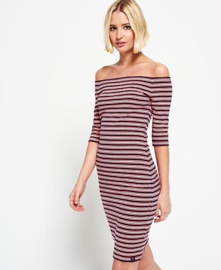fluro pink/navy/white stripe Superdry Breton Bardot Stripe Dress