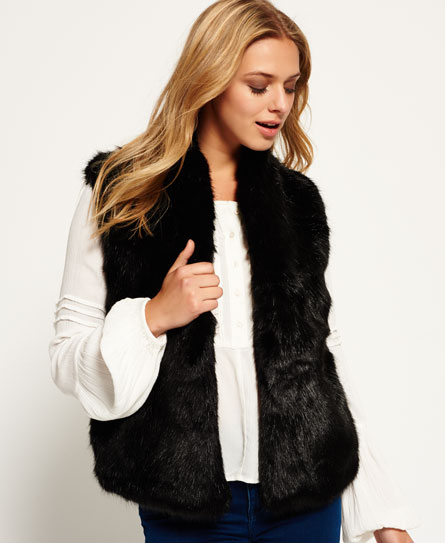 womens luxe fur gilet in black superdry
