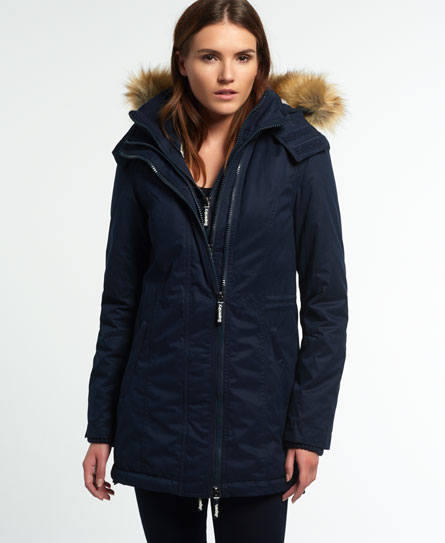 Womens - Microfibre Tall Windparka Jacket in Navy | Superdry