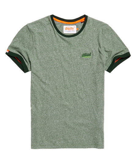 espengrün gesprenkelt Superdry Orange Label Cali Ringer T-Shirt