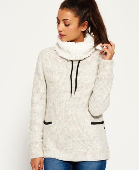 gris chiné Superdry Top confortable à col cheminée doublé de fausse laine de mouton