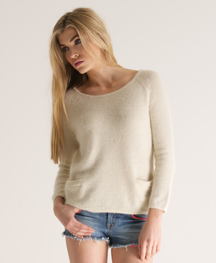 Superdry Brittany Crew Neck Cream