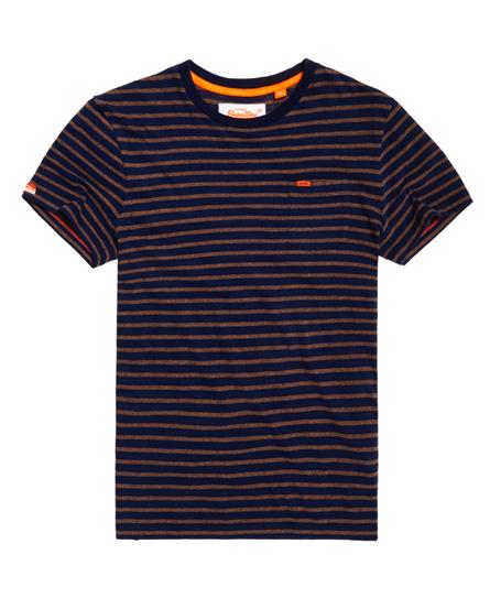 inkwell marineblau/rustikal ocker Superdry Gestreiftes Rustic T-Shirt mit Tasche
