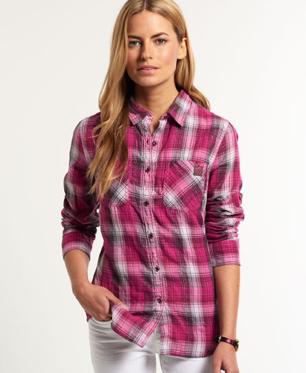 Womens double cloth gingham calamity shirt in jenna for Pink gingham shirt ladies