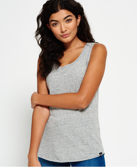 grey marl Superdry Ladder Lace Trim Tank Top