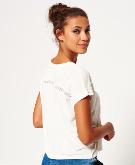 Superdry T-shirt met kanten inzetstuk