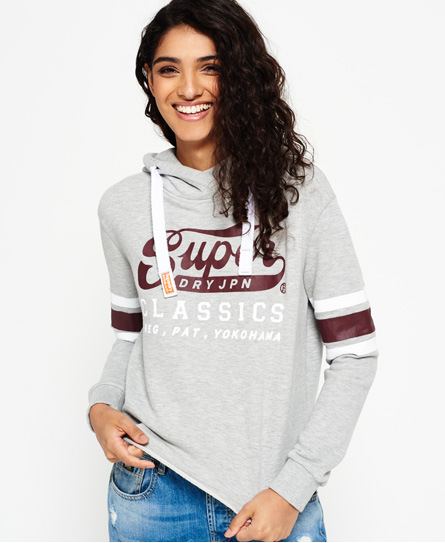 grey marl Superdry Classics Cropped Hoodie