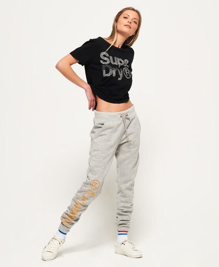 Superdry SD Skater Glitzer-Jogginghose | Sportbekleidung | Hellgrau | Material: baumwolle 60%|polyester 40%| | Superdry