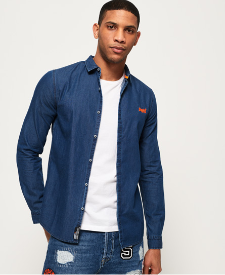 Superdry Superdry Tailored Indigo Loom skjorte