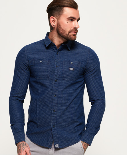 Indigo Loom Long Sleeve Shirt Superdry Sast Cheap Price Cheap Footlocker Pictures WRxHrwXqZ