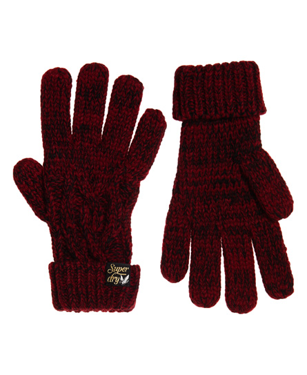 Superdry Arizona Cable Gloves In Red