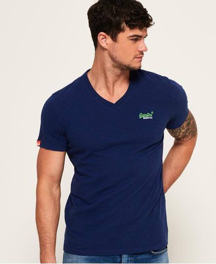 Superdry T-shirt ricamata Vintage con scollo a V Orange Label