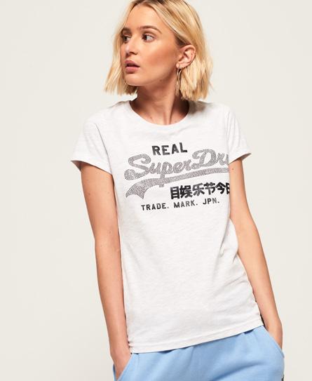 Superdry Superdry Vintage Logo T-shirt med rhinstene