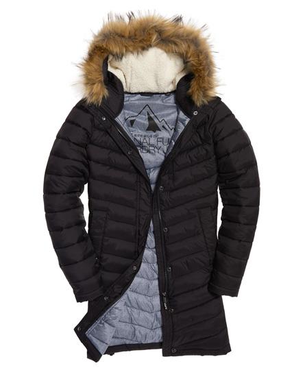 Womens Chevron Faux Fur Super Fuji Jacket In Black