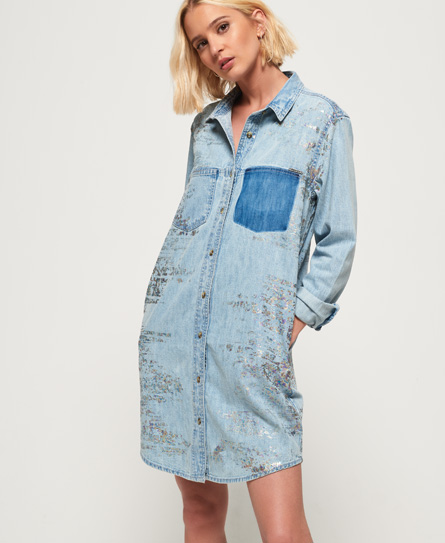Superdry Oversized Denim hemdjurk blauw
