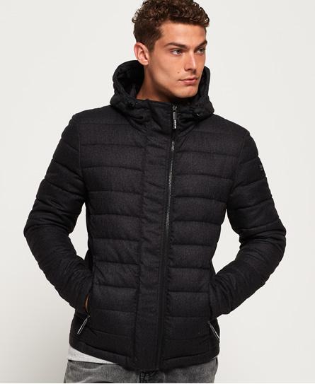 Superdry Superdry Tweed Fuji jakke med hætte og dobbelt lynlås