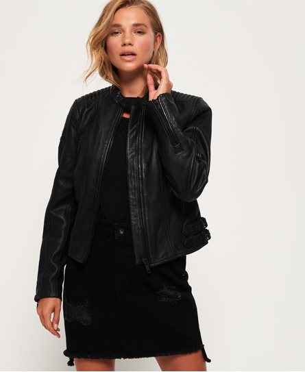 Thea Leather Racer Jacket
