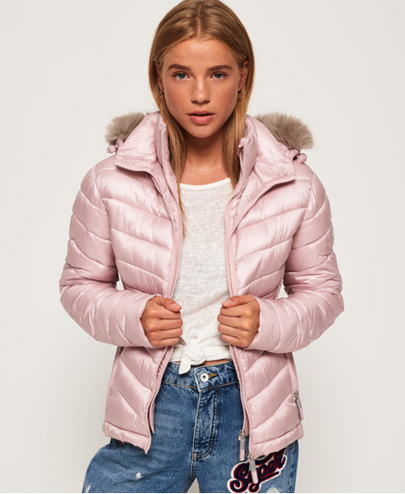 Superdry Damen Jacke HOODED LUXE CHEVRON FUJI