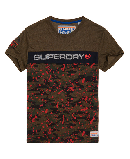 Superdry Trophy T-Shirt mit Tarnmuster und Farbspritzer-Print