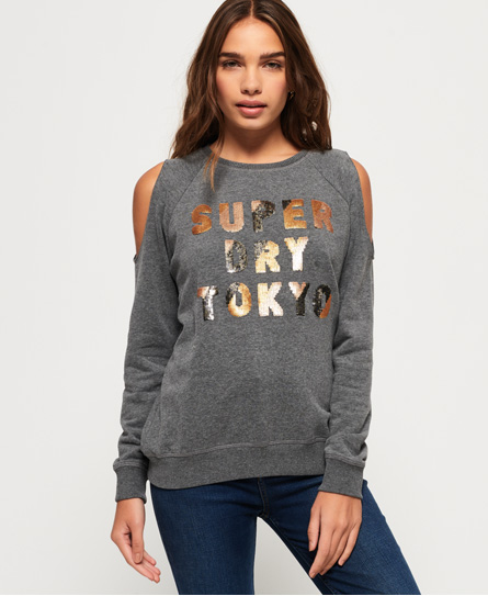 Superdry Superdry Alice cold shoulder-sweatshirt med rund hals
