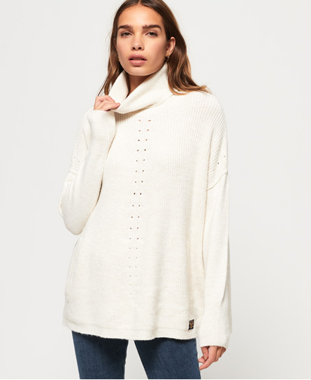 Superdry Gerippter Maya Poncho | Bekleidung > Pullover > Ponchos & Capes | Creme | Material: acryl 87%|polyester 7%|polyamid (nylon) 5%|wolle 1%| | Superdry