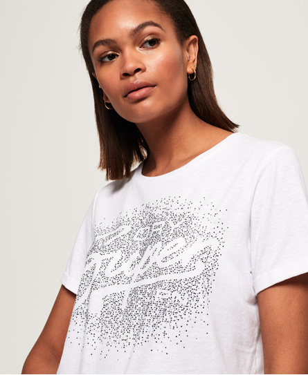 Superdry Superdry Super Script T-shirt med firkantet snit og rhinstene