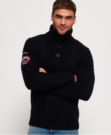 Superdry Montana Henley Pullover mit Zopfmuster