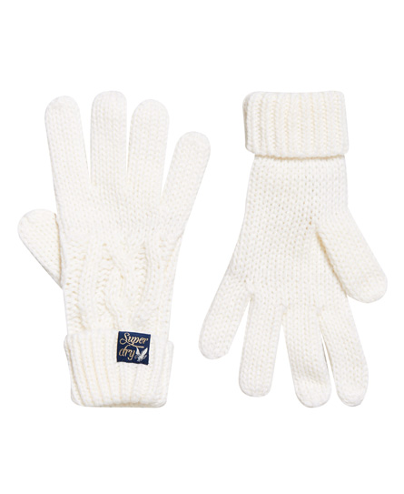 Superdry Arizona Handschuhe mit Zopfmuster | Accessoires > Handschuhe > Sonstige Handschuhe | Creme | Material: acryl 100%| | Superdry