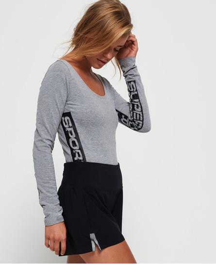 Superdry Klassischer Street Sport Bodysuit mit langen Ärmeln | Sportbekleidung > Sportanzüge > Sonstige Sportanzüge | Grau | Rumpf: baumwolle 56%|polyester 40%|elastan 4%| | Superdry