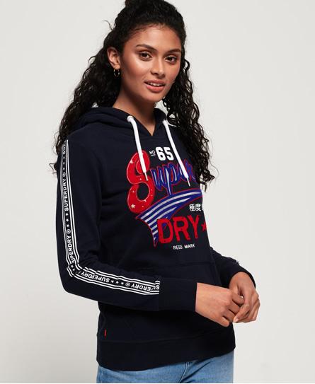 Superdry Superdry Let American hættetrøje med flockpræget tekst