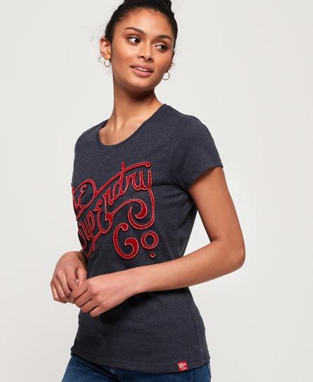 Superdry Superdry Super Co T-shirt med fløjlsblødt præg
