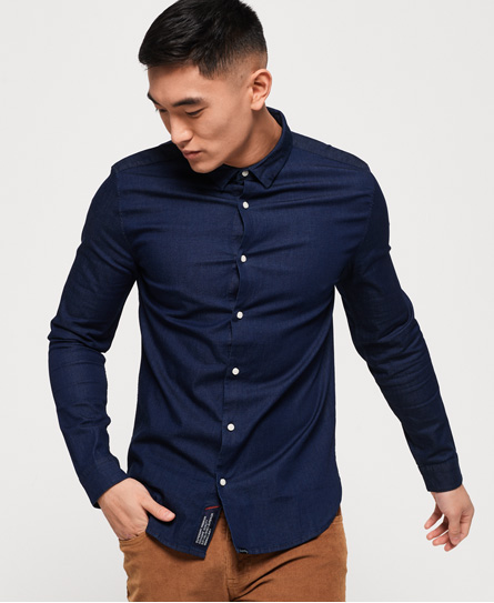 Superdry Indigoblaues, schmal geschnittenes Hemd